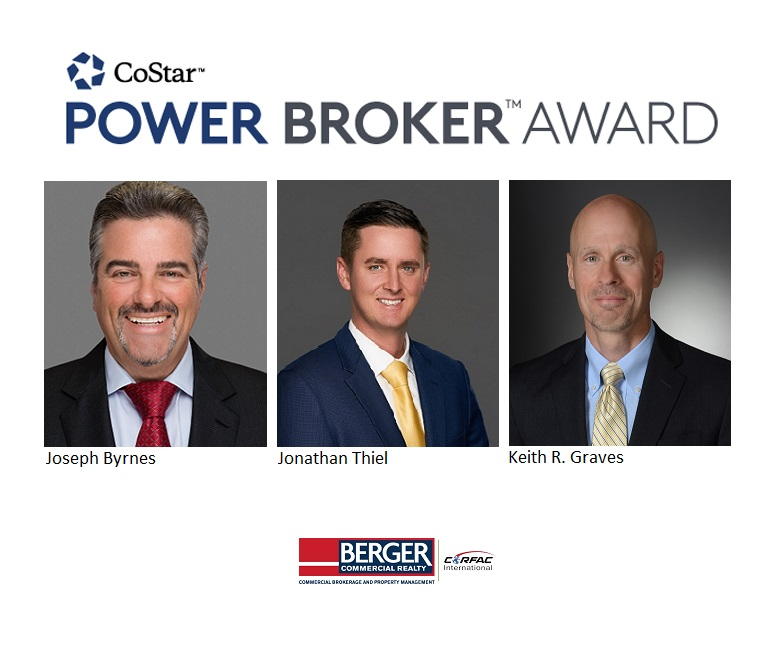 Berger Commercial Realty Recognized  With Multiple CoStar Power Broker Awards™