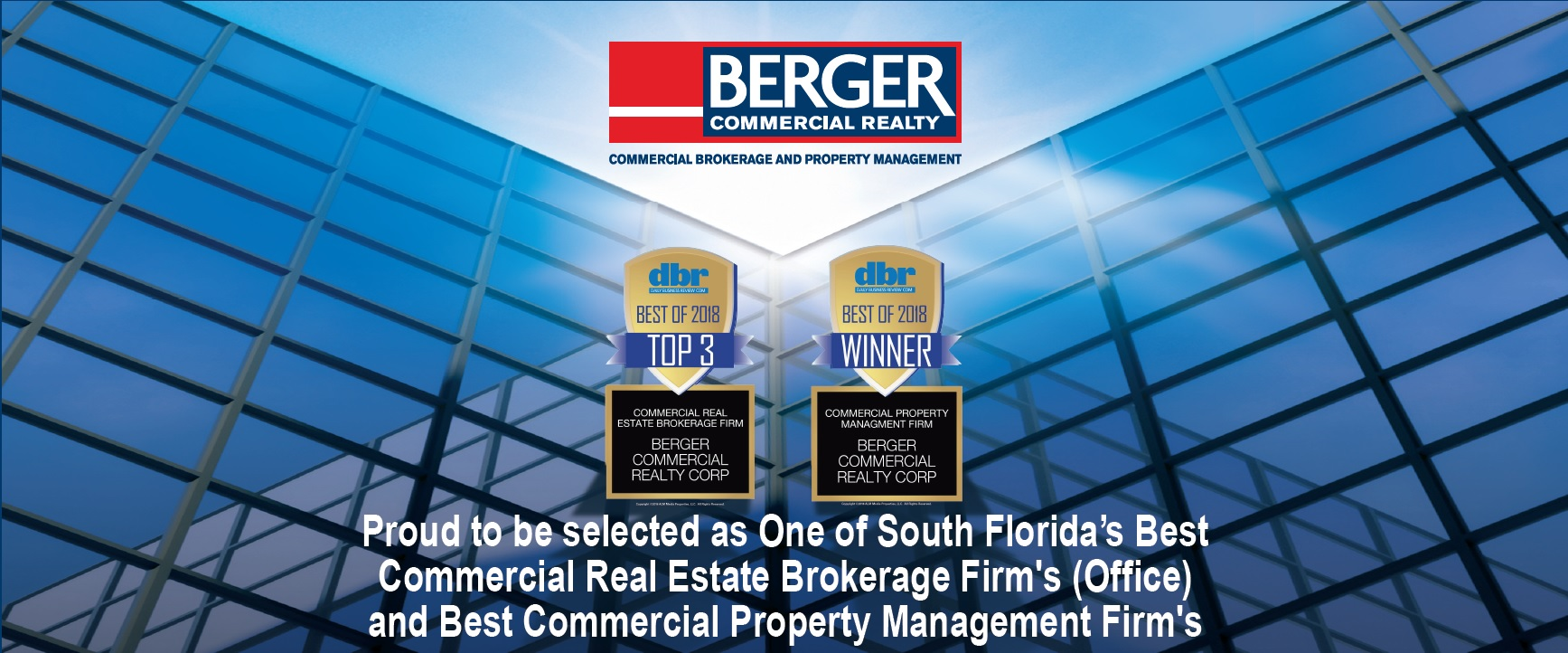 Thanks For Voting! Berger Commercial Realty Is #1 In The Daily Business Review